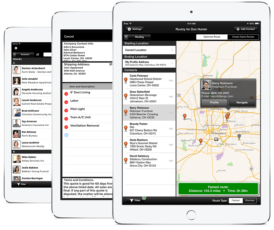 Routzy CRM app for iPad