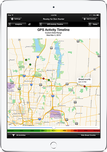 GPS activity timeline screen in Routzy